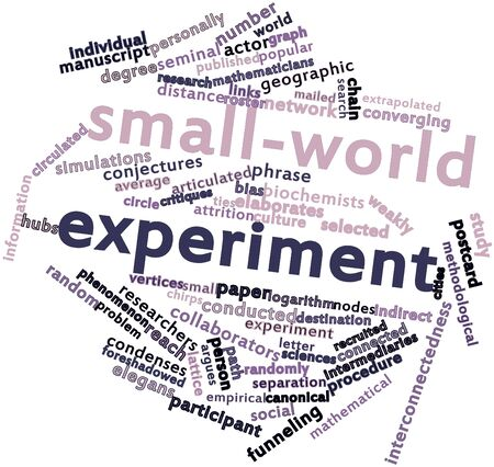 seminal: Abstract word cloud for Small-world experiment with related tags and terms Stock Photo