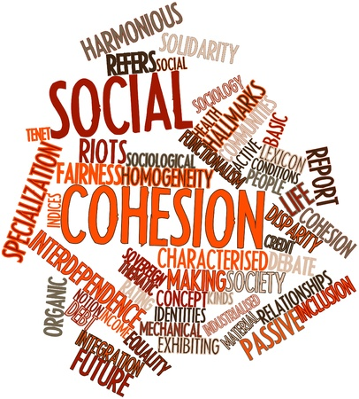 launched: Abstract word cloud for Social cohesion with related tags and terms Stock Photo