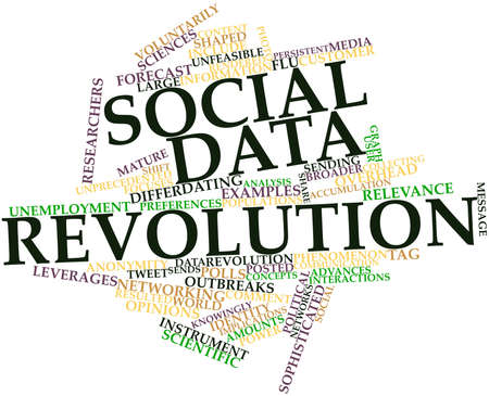 tweet: Abstract word cloud for Social data revolution with related tags and terms Stock Photo