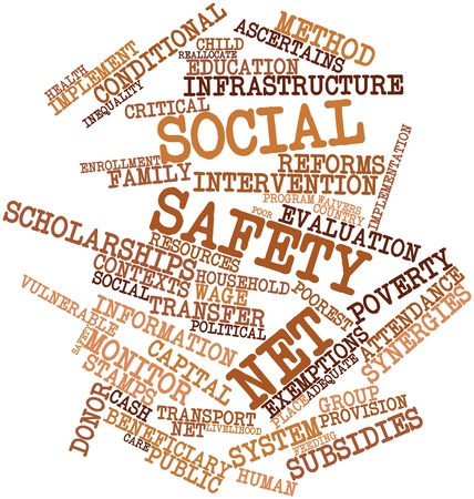 intervention: Abstract word cloud for Social safety net with related tags and terms Stock Photo