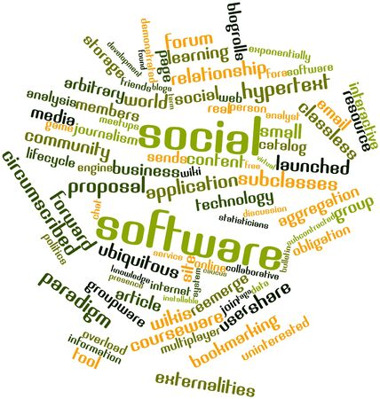 information systems: Abstract word cloud for Social software with related tags and terms