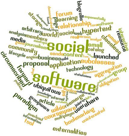 arbitrario: Nube palabra abstracta para software social con las etiquetas y términos relacionados