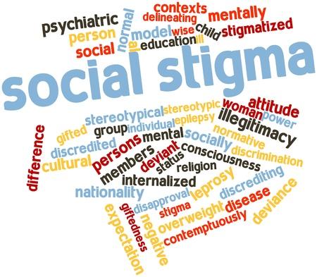 stigmate: Nuage de mot abstrait de la stigmatisation sociale avec des �tiquettes et des termes connexes