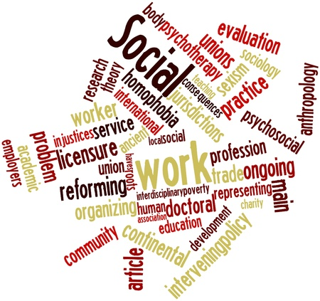 Abstract word cloud for Social work with related tags and terms photo
