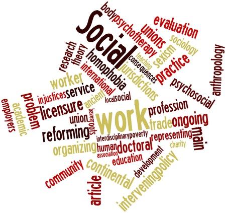 trabajo social: Nube palabra abstracta para el trabajo social con las etiquetas y t�rminos relacionados