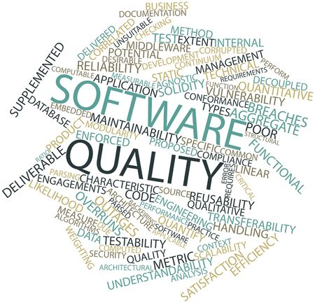 deliverable: Abstract word cloud for Software quality with related tags and terms