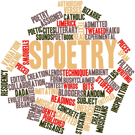 poems: Abstract word cloud for Spoetry with related tags and terms Stock Photo