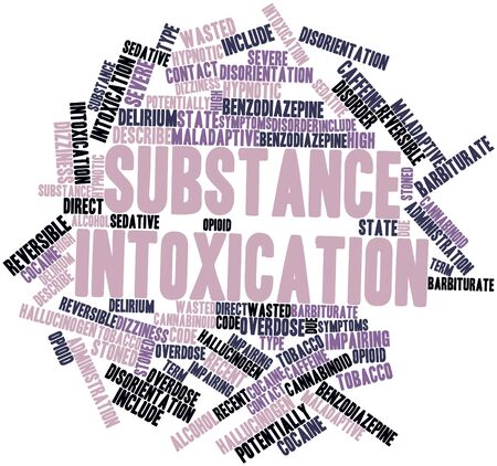 describe: Abstract word cloud for Substance intoxication with related tags and terms