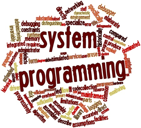 constraints: Abstract word cloud for System programming with related tags and terms Stock Photo