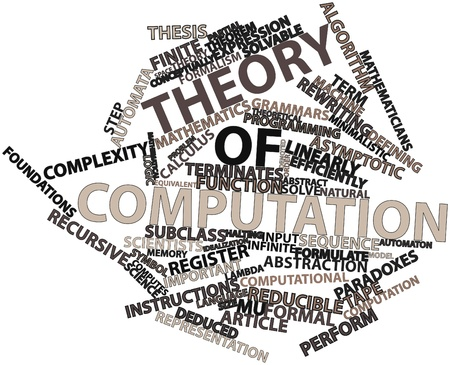 computation: Abstract word cloud for Theory of computation with related tags and terms Stock Photo