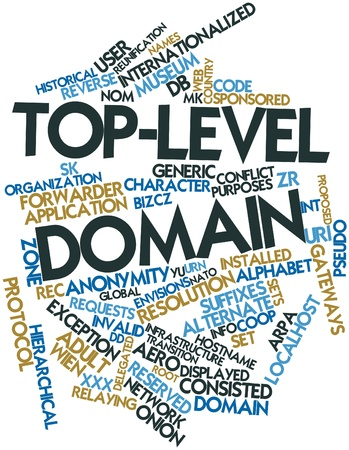domains: Abstract word cloud for Top-level domain with related tags and terms