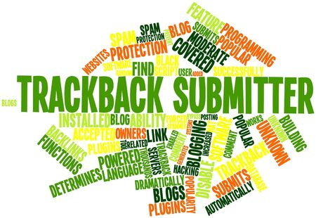 spammer: Abstract word cloud for Trackback submitter with related tags and terms Stock Photo