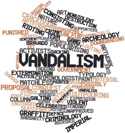 unapproved: Abstract word cloud for Vandalism with related tags and terms Stock Photo