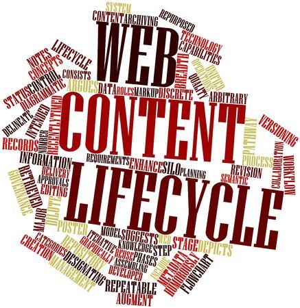 arbitrario: Nube palabra abstracta por ciclo de vida de contenido Web con etiquetas y términos relacionados Foto de archivo