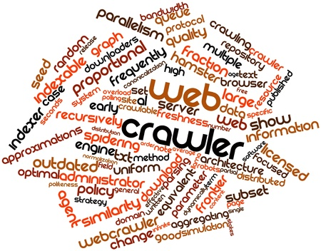 Abstract word cloud for Web crawler with related tags and terms photo