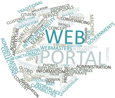 portal: Abstract word cloud for Web portal with related tags and terms
