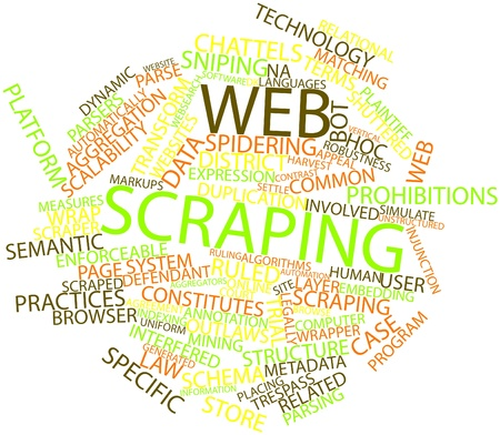 Abstract word cloud for Web scraping with related tags and terms Stock Photo - 16602923