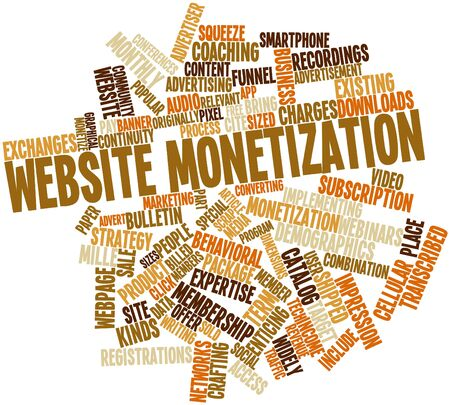 article writing: Abstract word cloud for Website monetization with related tags and terms Stock Photo