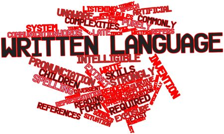 dialect: Abstract word cloud for Written language with related tags and terms