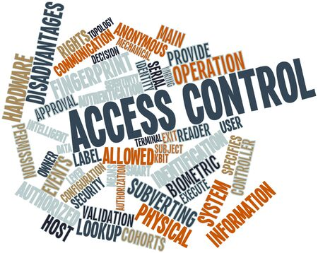 provide: Abstract word cloud for Access control with related tags and terms Stock Photo