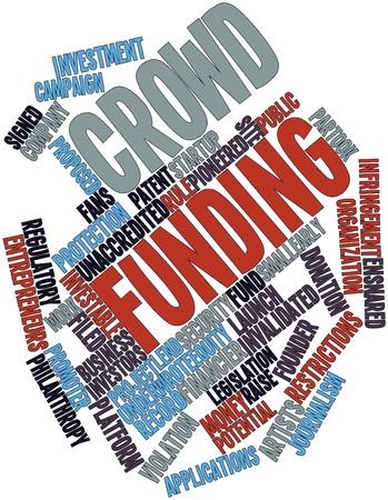 fondos negocios: Nube palabra abstracta para la financiaci�n muchedumbre con etiquetas y t�rminos relacionados Foto de archivo