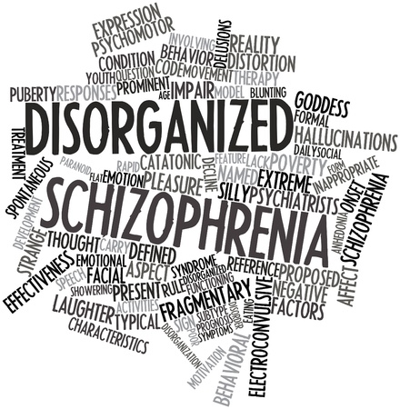 eating questions: Abstract word cloud for Disorganized schizophrenia with related tags and terms