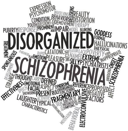 esquizofrenia: Nube palabra abstracta para la esquizofrenia desorganizada con las etiquetas y términos relacionados Foto de archivo
