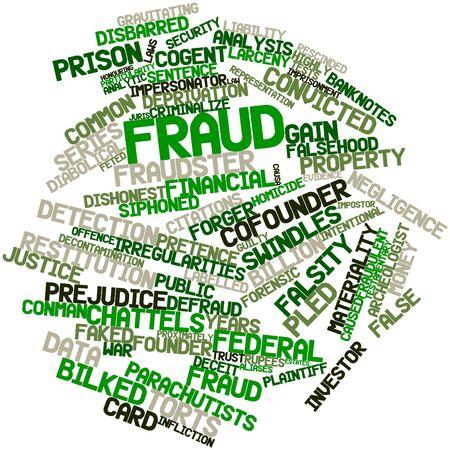 fraudster: Word cloud astratto per frode con tag correlati e termini Archivio Fotografico