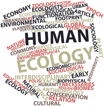 functionalism: Abstract word cloud for Human ecology with related tags and terms Stock Photo