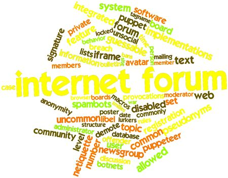 Abstract word cloud for Internet forum with related tags and terms Stock Photo - 16609142