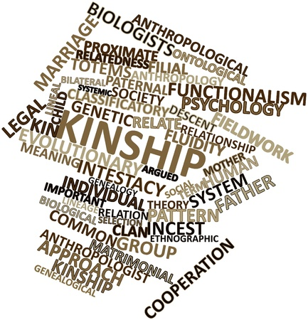 kinship: Abstract word cloud for Kinship with related tags and terms Stock Photo