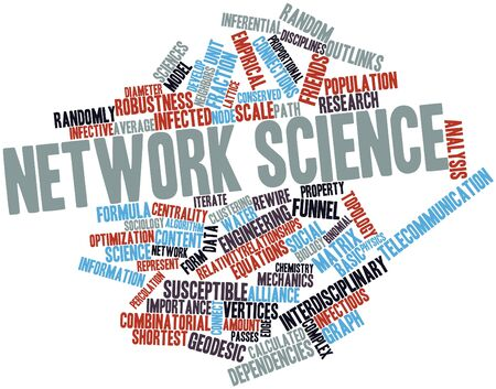 Abstract word cloud for Network science with related tags and terms photo
