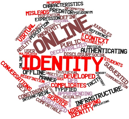 Abstract word cloud for Online identity with related tags and terms Stock Photo - 16609173