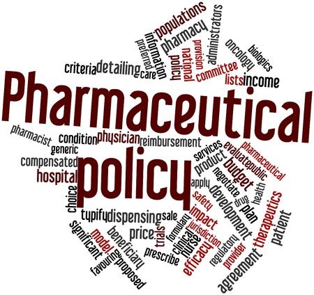 comité d entreprise: Nuage de mot abstrait de la politique pharmaceutique avec des étiquettes et des termes connexes Banque d'images