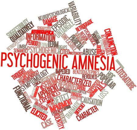 causation: Abstract word cloud for Psychogenic amnesia with related tags and terms