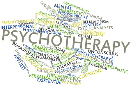 Abstract word cloud for Psychotherapy with related tags and terms
