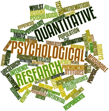 quantitative: Abstract word cloud for Quantitative psychological research with related tags and terms Stock Photo