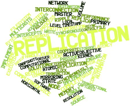 deterministic: Abstract word cloud for Replication with related tags and terms Stock Photo
