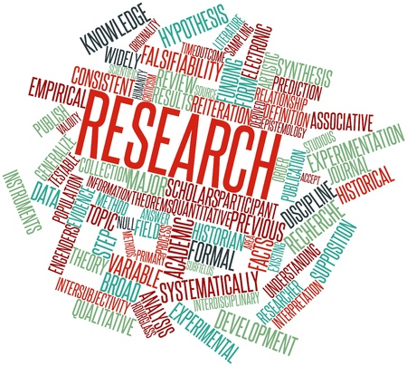 studious: Abstract word cloud for Research with related tags and terms Stock Photo