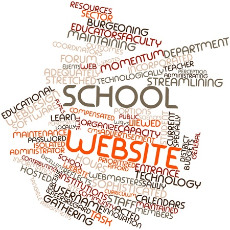 Abstract word cloud for School website with related tags and terms Stock Photo