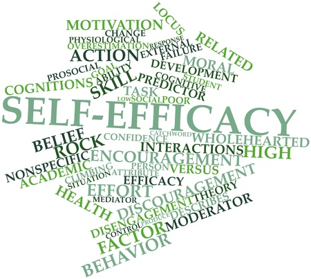 distinctions: Abstract word cloud for Self-efficacy with related tags and terms Stock Photo