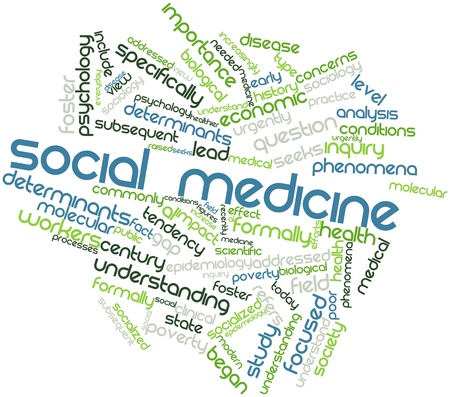 determinants: Abstract word cloud for Social medicine with related tags and terms Stock Photo