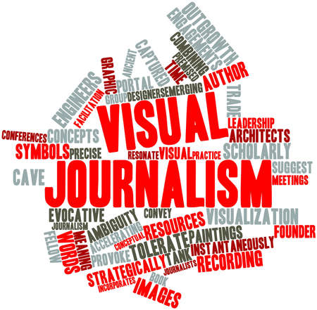 Abstract word cloud for Visual journalism with related tags and terms photo