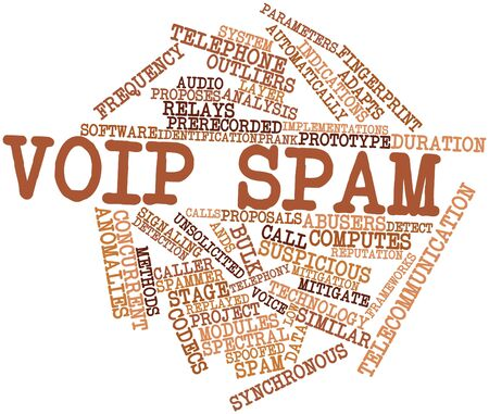 concurrent: Abstract word cloud for VoIP spam with related tags and terms