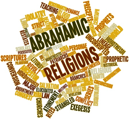 jurists: Abstract word cloud for Abrahamic religions with related tags and terms Stock Photo