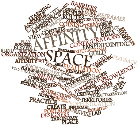 reshape: Abstract word cloud for Affinity space with related tags and terms Stock Photo