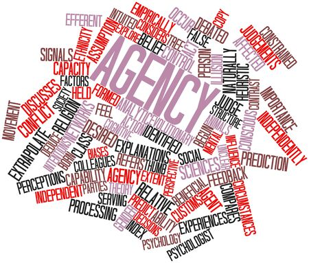 deduce: Abstract word cloud for Agency with related tags and terms Stock Photo
