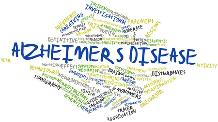 emission: Abstract word cloud for Alzheimers disease with related tags and terms