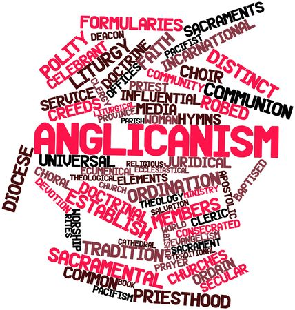 sanctification: Abstract word cloud for Anglicanism with related tags and terms Stock Photo