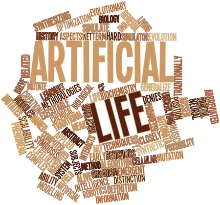 executable: Abstract word cloud for Artificial life with related tags and terms Stock Photo